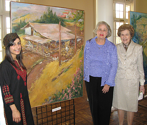 """""""The Sheepfold at Galilee"""" by Miriam McClung, 2003. Oil on linen. Miriam (center) pictured with friends. Photo credit: Ivy Jackson."""