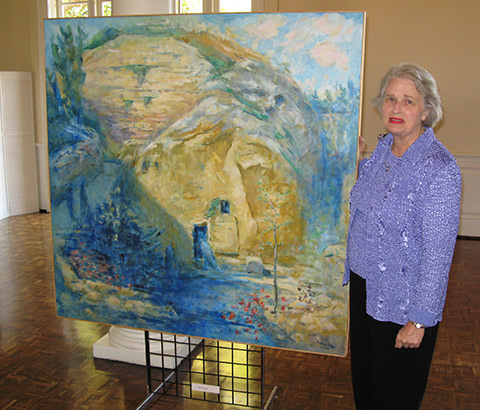 """""""Mary at the Tomb"""" by Miriam McClung, 2004. Oil on linen. Miriam McClung pictured. Photo credit: Ivy Jackson."""