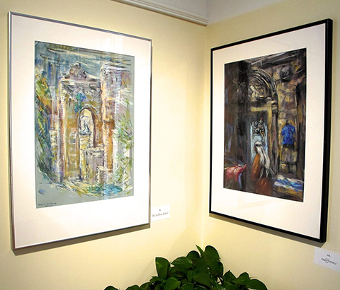 """Left: """"The Pool at Bethesda"""" by Miriam McClung, 2004. Pastel on paper. Right: """"Indifference"""" by Miriam McClung, 2004. Pastel on paper. Photo credit: Ivy Jackson"""