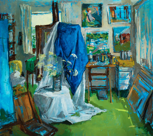 """The apartment studio in the mid-1970s from the painting """"The Studio"""" by Miriam McClung"""