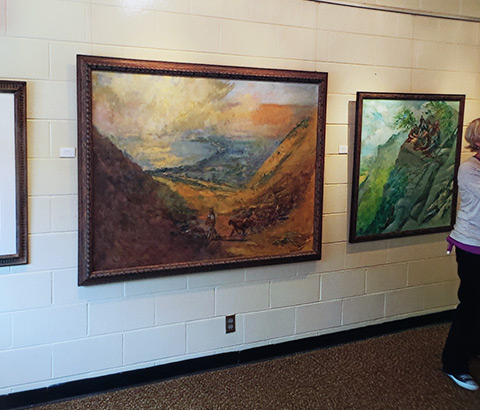 """""""Shepherd at Galilee"""" (left) and """"Sermon on the Mount"""" (right) by Miriam McClung. Oil on canvas."""