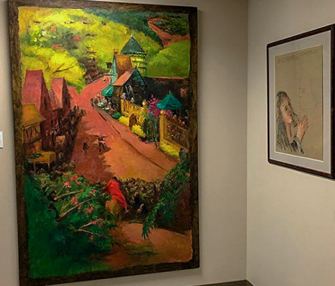 """Left: """"Christ Enters Jerusalem"""" by Miriam McClung, 1996. Oil on linen. Right: """"Rabboni"""" by Miriam McClung, 1989. Pastel and pen on paper."""