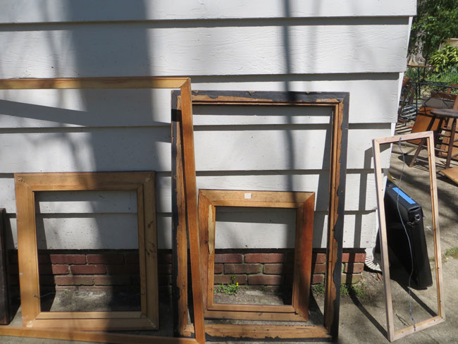 Frames drying out in the sun after the flood.